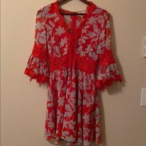 Emory Park Lace Red Floral Dress